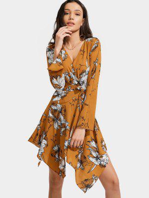 Floral Print Belted Asymmetric Dress - Floral Xl