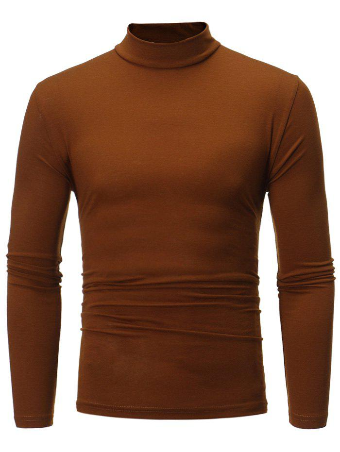 Turtle Neck Long Sleeve Cotton Blends T shirt 223871323