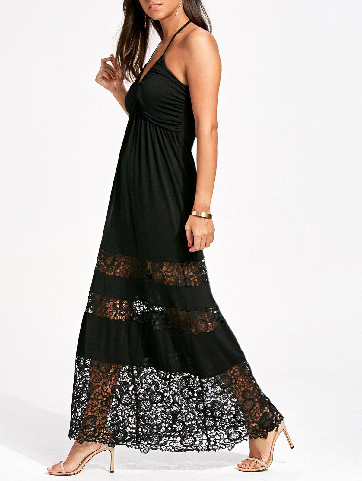Halter Crochet Panel Maxi Dress 213927102