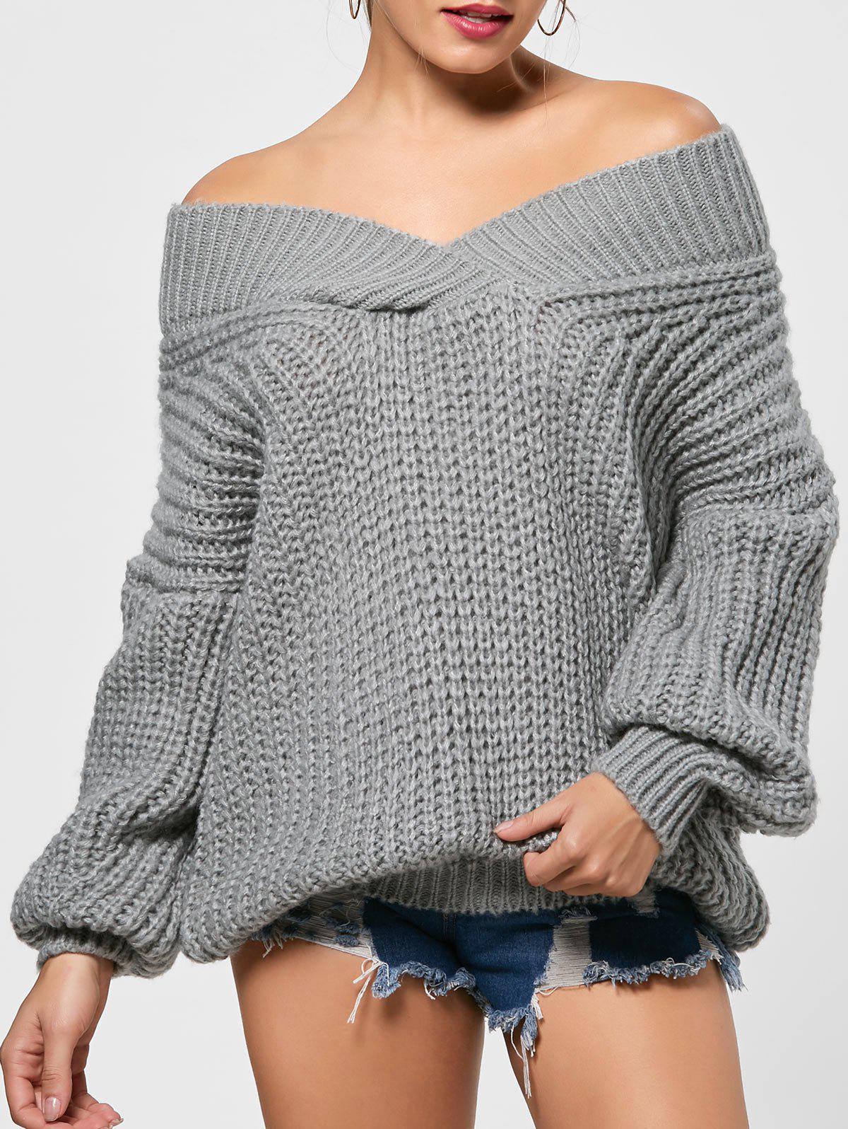 Surplice Drop Shoulder Chunky Sweater 223113301