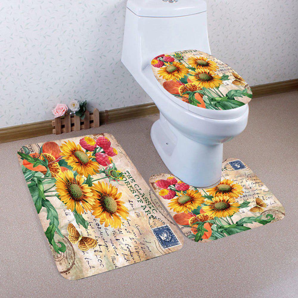 Ensemble de tapis de toilette avec motif de tournesols 3Pcs