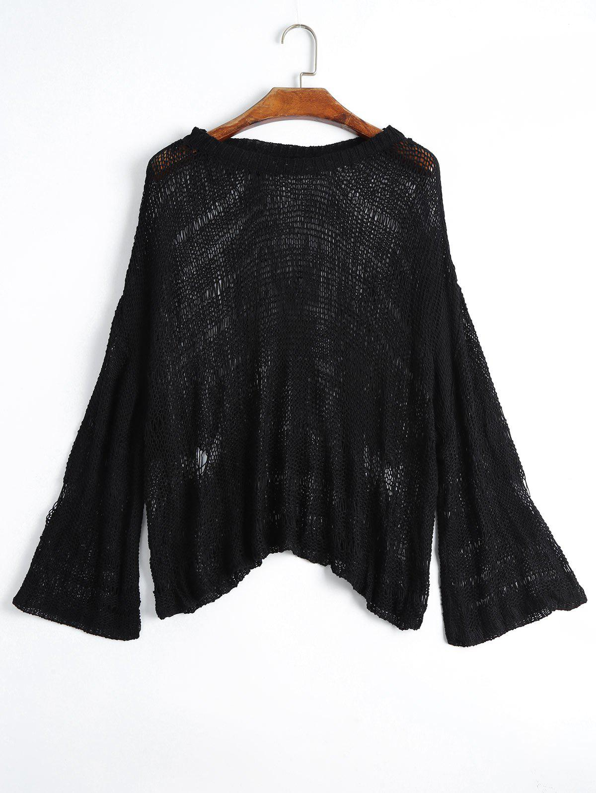 Drop Shoulder Hollow Out Knitted Top 223362902