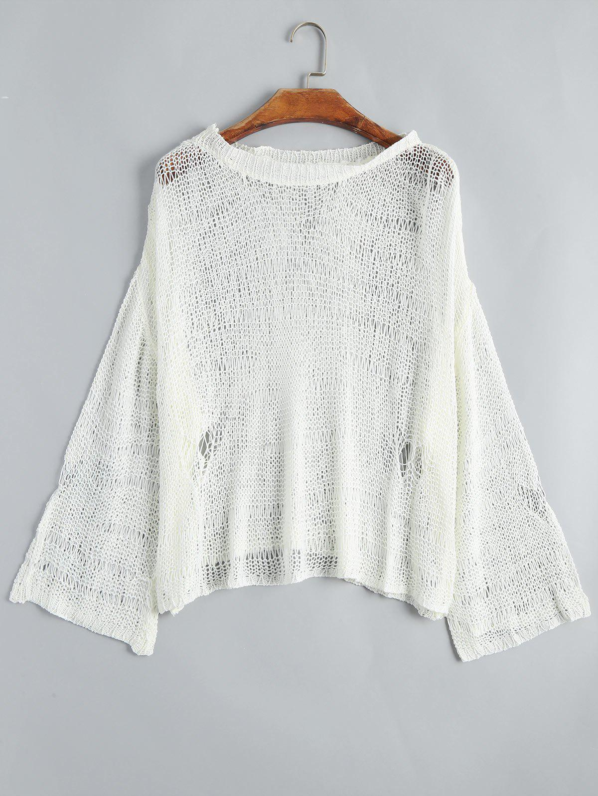 Drop Shoulder Hollow Out Knitted Top 223362901