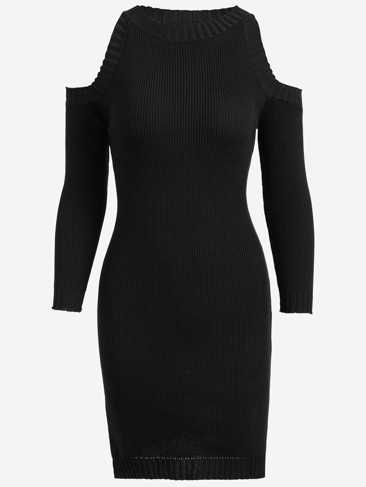 Cold Shoulder Slit Pencil Knitted Dress