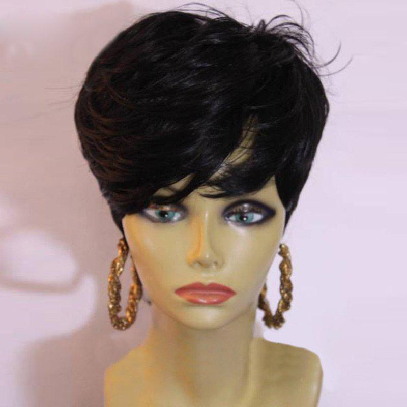 Short Side Bang Layered Slightly Curly Synthetic Wig 223985301