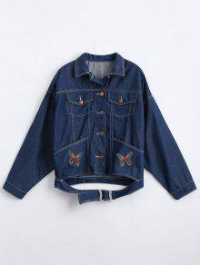 Button Up Butterfly Patches Denim Jacket - Denim Blue