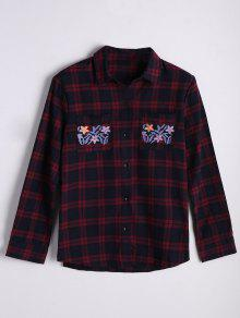 Checked Floral Embroidered Shirt - Checked S