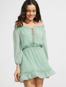 Ruffle Hem Off The Shoulder Dress - Light Green S