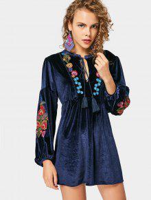 Crushed Velvet Embroidered Long Sleeve Dress - Purplish Blue S