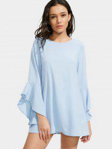 Flare Sleeve Mini Shift Dress - Light Blue Xl