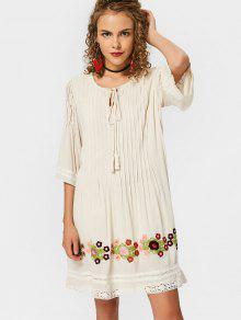 Lace Trim Tassels Mini Vestido Bordado - Palomino S