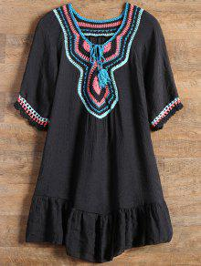 Ruffles Crochet Panel Cover Up Vestido - Negro