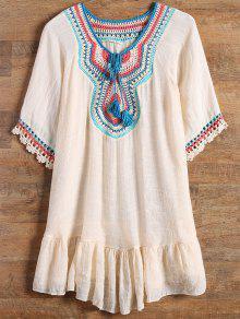 Ruffles Crochet Panel Cover Up Dress - Apricot