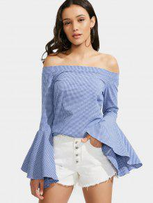 Off The Shoulder Flare Sleeve Checked Blouse - Blue S