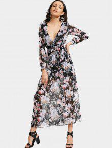 Plunging Neck Floral Print Belted Dress - Black M