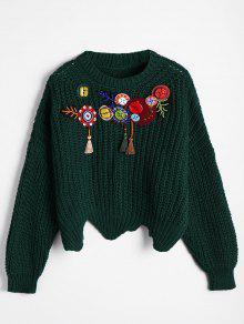 Übergröße Weiter Pullover Mit Perlen Und Quasten - Grün
