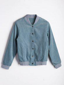 Button Up Pleated Bomber Jacket - Light Blue L