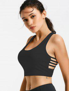 Ladder Cut Padded Cropped Gym Top - Black M