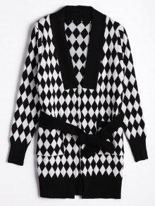 Belted Contrasting Diamond Cardigan - White And Black