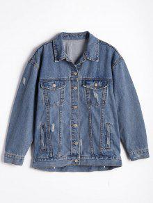 Button Up Ripped Denim Jacket - Denim Blue L