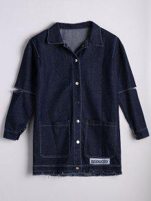 Patched Button Down Denim Coat With Pockets - Denim Blue