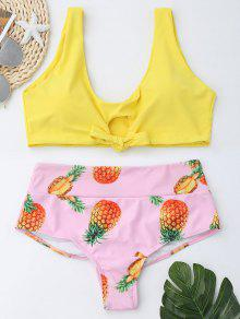Pineapple Print High Waist Bralette Bikini Set - Yellow S