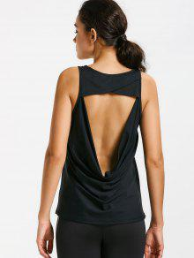 Scoop Back Cut Out Sports Top - Black M