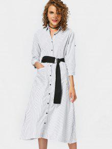 Bleted Casual Stripes Shirt Dress - Stripe S