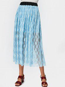 Elastic Waist Lined Lace Maxi Skirt - Light Blue S