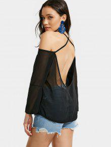 Open Back Sheer Cami Blouse - Black L