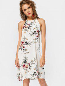 High Neck Keyhole Floral Swing Dress - Floral Xl