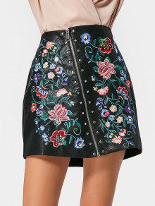 Zip Up Embroidered Faux Leather Skirt - Black S