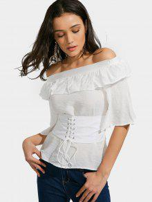Off The Shoulder Ruffled Belted Blouse - White Xl