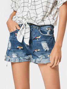 Destroyed Embroidered Cutoffs Denim Shorts - Denim Blue L