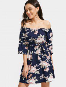 Floral Off Shoulder Belted Dress - Purplish Blue S