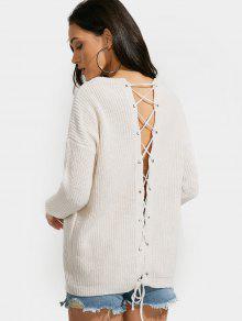 Drop Shoulder Back Lace Up Plain Sweater - Apricot