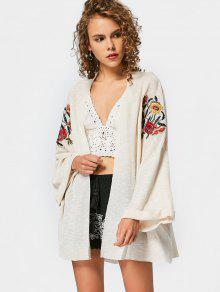 Drop Shoulder Floral Embroidered Knit Cardigan - Off-white