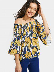 Off The Shoulder Floral Bell Sleeve Blouse - Yellow L