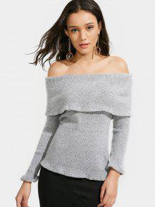 Off The Shoulder Flounce Sweater - Gray Xl