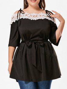 فستان طباعة الأزهار أبليك باردة الكتف الحجم الكبير - أسود 4xl