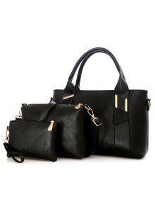 جلد صناعي 3 قطع حقيبة يد - أسود
