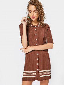 Stripes Button Up Sweater Dress - Brown