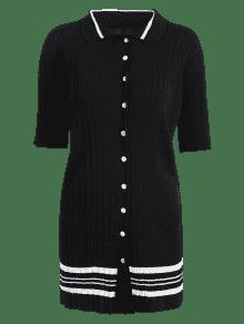Stripes Button Up Sweater Dress BLACK: Sweater Dresses ONE SIZE ...