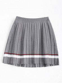 High Waist Striped Pleated Skirt - Gray
