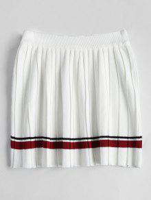 High Waist Striped Pleated Skirt - White