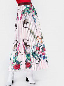 Animal Floral Maxi Pleated Skirt - Pink M