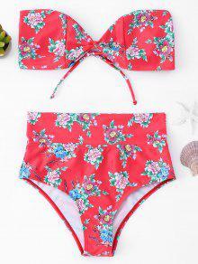 Ensemble De Bikini Bicolore à Haute Taille Floral - Rouge S