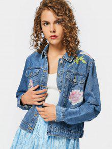 Embroidered Button Up Denim Jacket With Pockets - Denim Blue S