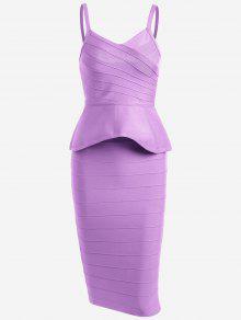 Flounce Cami Top And Bandage Skirt Set - Purple L