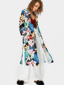 Side Slit Floral Trench Coat